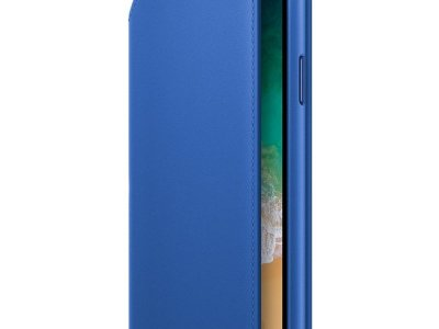 Apple iPhone X Leather Folio Book Case Electric Blue