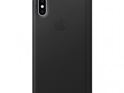 Apple iPhone Xs Leather Folio Book Zwart