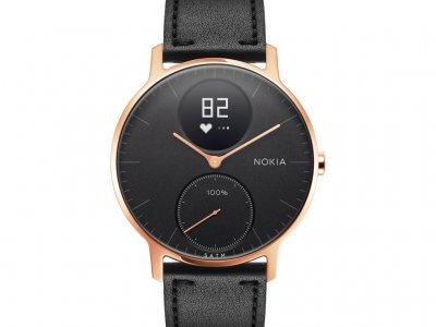 Nokia Steel HR (36mm) Rose Goud Zwart Leer