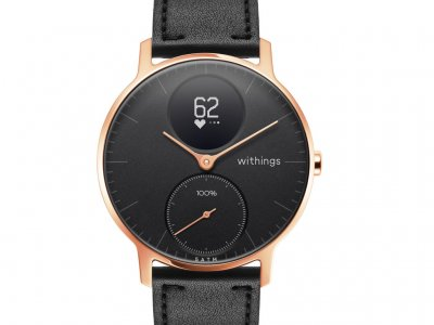 Withings Steel HR (36mm) Rose Goud Zwart Leer