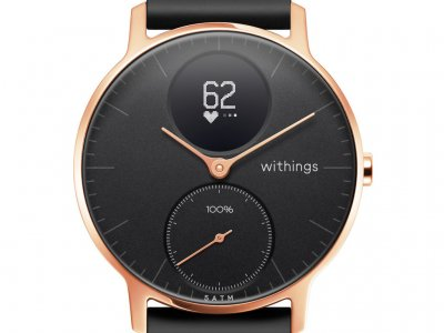 Withings Steel HR (36mm) Rose Goud Zwart Siliconen