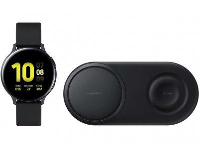 Samsung Galaxy Watch Active2 Zwart 44 mm + Samsung Draadloze Oplader DUO Pad Zwart