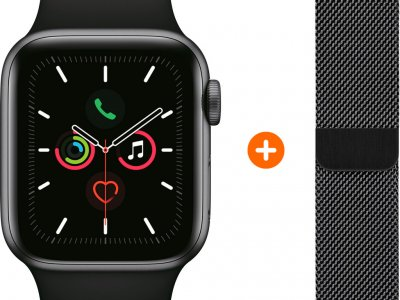 Apple Watch Series 5 44mm Space Gray Zwarte Sportband + Polsband Milanees Spacezwart