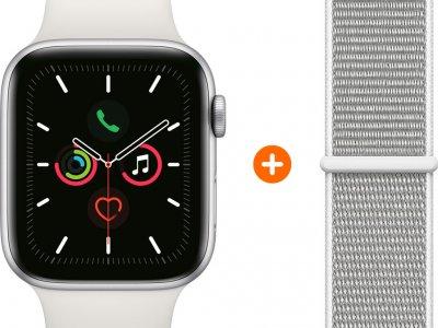 Apple Watch Series 5 44mm Zilver Witte Sportband + Nylon Sport Loop Schelpenwit