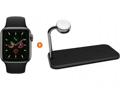 Apple Watch Series 5 44mm Space Gray Zwarte Sportband + ZENS Draadloze Oplader 10W Zwart