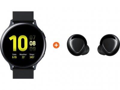 Samsung Galaxy Watch Active2 Zwart 40 mm Aluminium + Galaxy Buds Plus Zwart