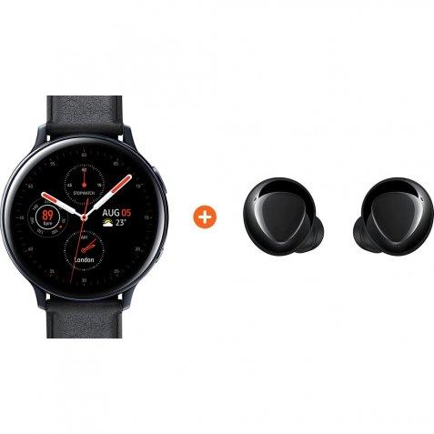 Samsung Galaxy Watch Active2 Zwart 44 mm RVS + Galaxy Buds Plus Zwart