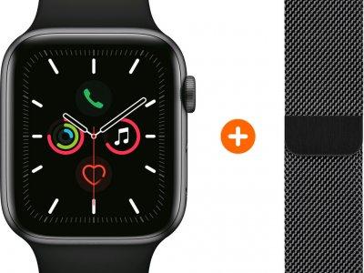 Apple Watch Series 5 40mm Space Gray Zwarte Sportband + Polsband Milanees Spacezwart