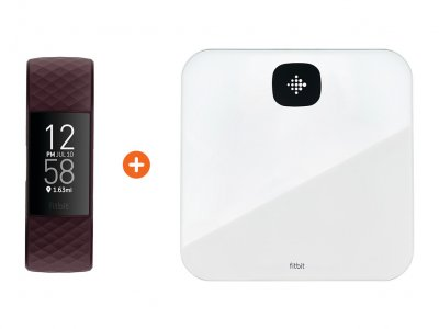 Charge 4 Palissanderbruin + Fitbit Aria Air Wit