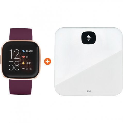 Fitbit Versa 2 Bordeauxrood + Fitbit Aria Air Wit