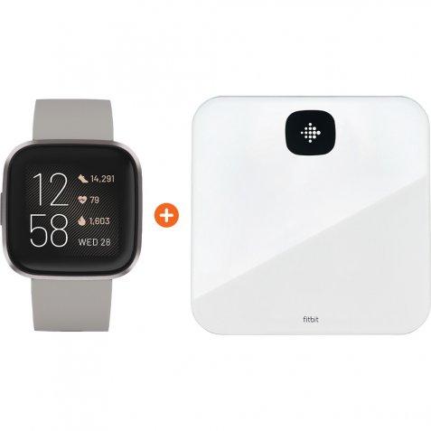 Fitbit Versa 2 Grijs + Fitbit Aria Air Wit
