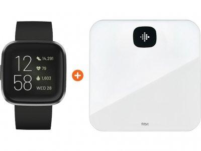 Fitbit Versa 2 Zwart + Fitbit Aria Air Wit