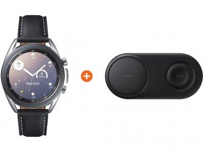 Samsung Galaxy Watch3 Zilver 41 mm + Samsung Draadloze Oplader DUO Pad Zwart