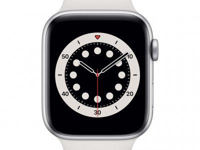 Apple Watch Series 6 44mm Zilver Aluminium Witte Sportband