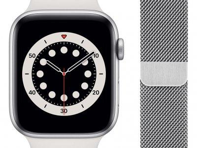 Apple Watch Series 6 44mm Zilver Aluminium Witte Sportband + Apple Watch 42/44 mm Polsband Milanees Zilver