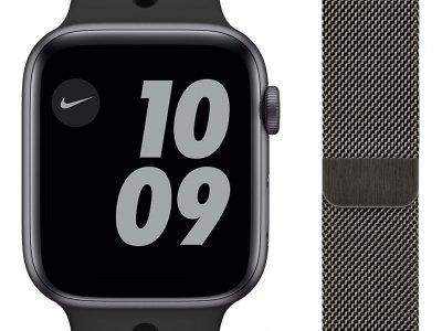 Apple Watch Nike Series 6 44mm Space Gray Aluminium Zwarte Sportband + Apple Watch 42/44 mm Polsband Milanees Grafiet