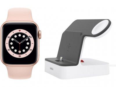 Apple Watch Series 6 40mm Goud Aluminium Roze Sportband + Be