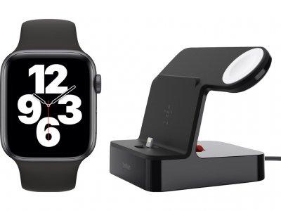 Apple Watch SE 44mm Space Gray Aluminium Zwarte Sportband +