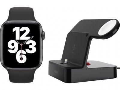 Apple Watch SE 44mm Space Gray Zwarte Sportband + Belkin Docking Station Zwart