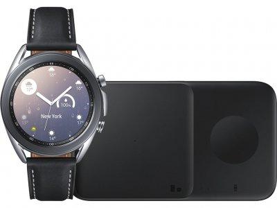 Samsung Galaxy Watch3 Zilver 41 mm + Samsung Draadloze Oplader DUO Pad 9W Zwart