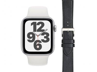 Apple Watch SE 44mm Zilver Wit Bandje + DBramante1928 Leren Bandje Zwart/Zilver