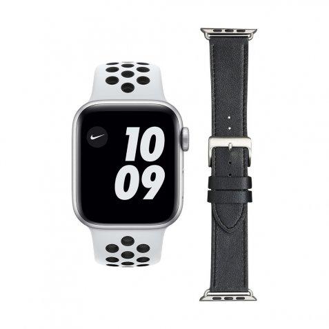 Apple Watch Nike SE 44mm Zilver Wit Bandje + DBramante1928 Leren Bandje Zwart/Zilver