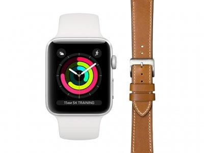 Apple Watch Series 3 42mm Zilver Wit Bandje + DBramante1928 Leren Bandje Bruin/Zilver