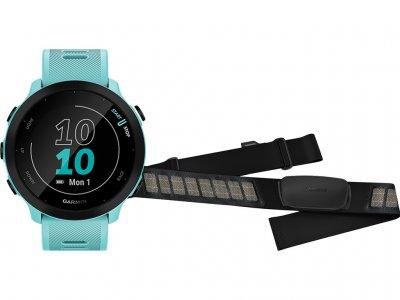 Garmin Forerunner 55 Blauw + Garmin HRM-DUAL Hartslagmeter Borstband Zwart