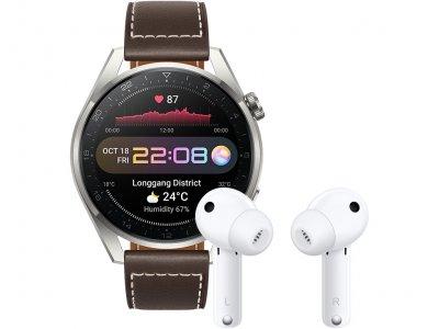 Huawei Watch 3 Pro Classic 4G Zilver/Bruin 49mm met oordopjes