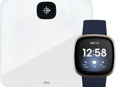 Fitbit Versa 3 Blauw/Goud + Fitbit Aria Air Wit