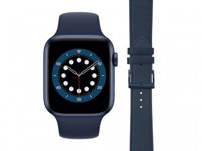Apple Watch Series 6 44mm Blauw Siliconen Sportband + DBramante1928 Leren Bandje Blauw